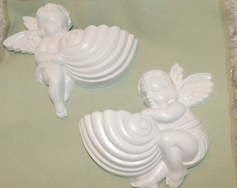 Vintage ''Burwood Products, Inc '' Lightweight Angels / Cherubs with Seashells Wall Pockets in White