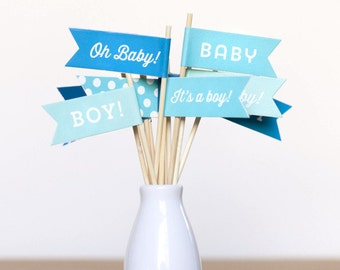 Small Flags - Baby Boy - 12 pack