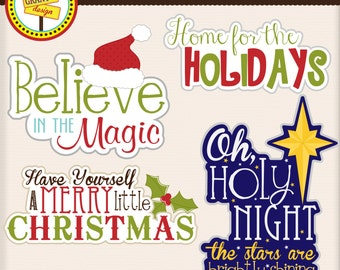 Christmas Words - Christmas Word Art - Christmas Clipart - Personal and Commercial Use - Card Design, Scrapbooking, and Web Design
