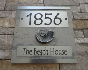 Beach House Sign Nautilus Shell House Numbers