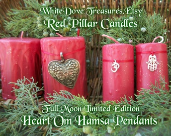 Yoga Candle ~ Red Pillar Candle ~ Holiday Candle ~ Hamsa Om or Heart Pendants ~ Gift Box