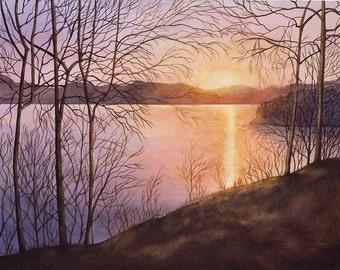 Lake Cumberland sunrise art watercolor painting print 12x16 by Cathy Hillegas, watercolor landscape, lake house decor, watercolor print