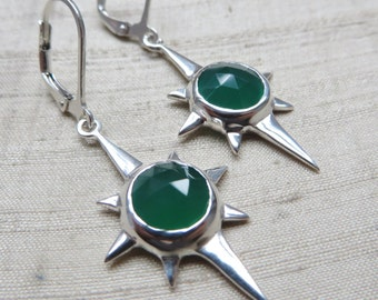 Green Onyx and Sterling Silver- North Star Earrings