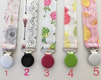 Pacifier clip - summer paci clip - one or two or a few or all - girl pacifier clip - toy clip - tribal paci clip - arrow pacifier clip -