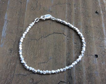 Karen Hill Tribe Silver Bracelet, 925 Sterling Silver Jewelry, Minimalist Silver Jewelry