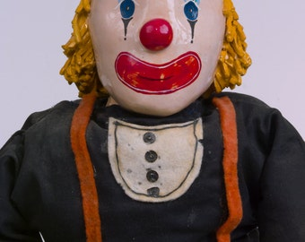 Handmade Ceramic and Fabric OOAK Clown Toy Doll