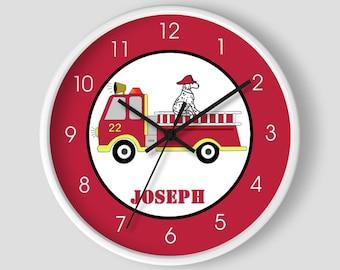 Fire Engine Firefighter Firetruck Boys Room Wall Clock / Firetruck Nursery / Toddler Fireman Clock