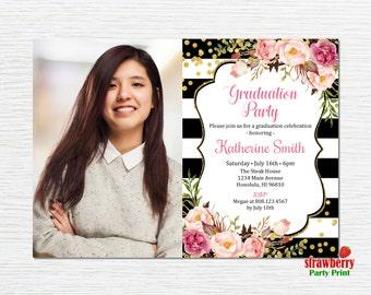 Graduation Party Invitation, Graduation Invitation for girls, High School Graduation, College Graduation, 2017 Grad, Printable Invitation G4
