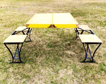 The Handy Table.Picnic Table.Tailgating.Retro.Kitsch.Kitschy.Camping.Glamping.Wisconsin.Yellow.Picnic.Portable Table.BBQ.Lawn Party.Black