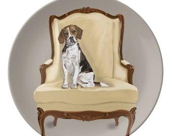 Porcelain Plate, Beagle Sitting Pretty