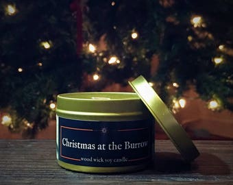 CHRISTMAS at the BURROW Candle | Wood Wick, Soy | Gold Tin | Fantasy Book- Fantasy- Geek Gift