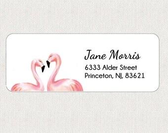 Flamingo Return Address Labels - Stickers - Personalized - Anniversary - Animal - Wedding