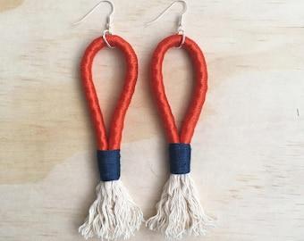 "Handmade statement rope dangle earrings // gifts for her // ""Red runner"""