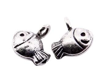 Thai Karen Hill Tribe Silver,Fish Shaped Karen Hill Tribe Handmade Charms,Charms,Karen Silver- KSC0146