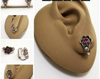 Pink Stone Pearl Flower Clip On Earrings Silver Tone Vintage Avon 1974 Rosegay Black Accented