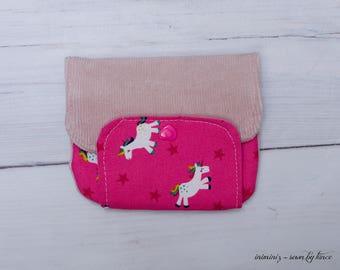 Unicorn wallet, Kids wallet, unicorn wallet for kids, small zipper pouch with unicorns in pink