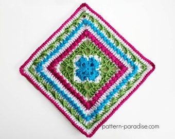 Crochet Pattern Afghan Square English Garden  PDF 16-235