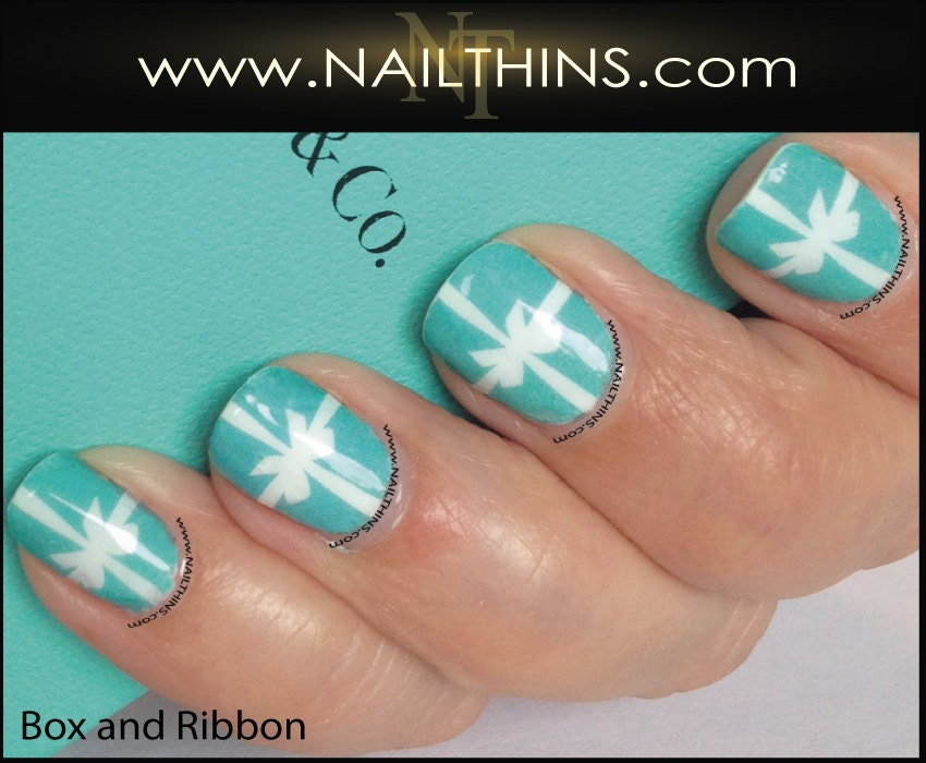 Box And Ribbon Nail Decal Full Nail Wrap By Nailthins