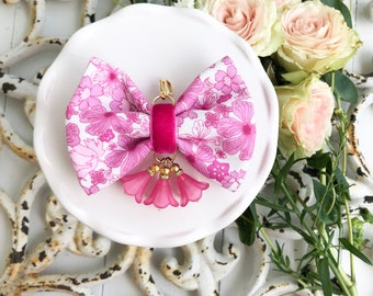 Dainty Spring Floral Blossom Bow in Happy Bright Pinks