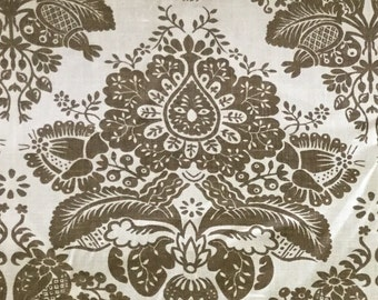Damask - Mint - Brown - Upholstery Fabric by the Yard