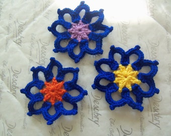Set of Three Blue Crochet Appliques With Assorted Center. Crochet Appliques.