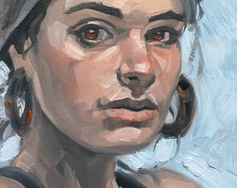 Headscarf and Hoops,  oil on canvas panel 12x9 inches by KennEy Mencher