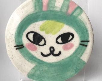 PAJAMA BUNNY wheel thrown ceramic Decorative PLATE