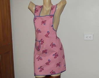 Pink Poodles Vintage Bib Apron Pinafore 1950s Kitsch