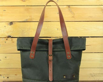 Waxed Canvas tote bag, Travel bag, canvas tote, waterproof tote bag, shopping bag, tote bag with leather, military green bag.