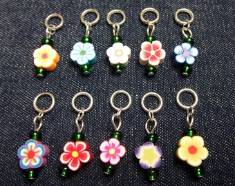 Fimo Flowers stitch markers/progress keepers