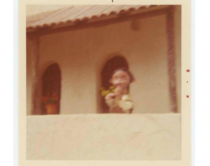 Vintage Snapshot Photo:Blurred Figure on Veranda, c1960s-70s (74565)