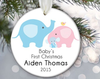 Baby's First Christmas Ornament, Elephant Ornament, Baby Boy or Girl Baby Ornament Personalized Christmas ornament Babys 1st Christmas OR334