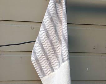 Organic Khadi handwoven cotton, linen colorblock tea towel,gray stripe tea towel, kitchen towel, natural kitchen towels