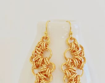 Organic Japanese 4 in 1 Chainmaille Design Dangle Earring - 14k Plated Earrings - By BALOOS STUDIO