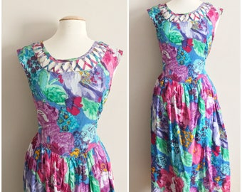 Tropical Floral Vintage Dress by Mademoiselle // Lattice Neckline // Watercolor Floral Dress