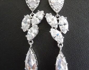 bridal earrings, Crystal Bridal Earrings, Rhinestone Earrings, Statement Bridal Earrings, Teardrop Earrings, wedding earrings, JOY