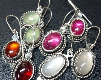 Gemstone Earrings - Garnet, Prehnite, Ruby and Moonstone