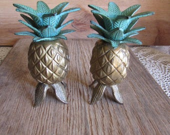 Pair Brass Pineapple Candle Holders Footed.