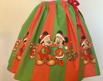 Mickey and Minnie Christmas Skirt for Young Gals, 2T through 10 girls