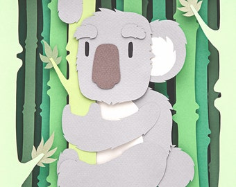 Koala in bamboo forest
