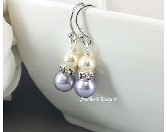 Bridesmaid Gift Swarovski Lavender Pearl Earrings Purple Earrings Dangle Earrings Bridesmaid Earrings Lavender Wedding Bridal Jewelry Gift