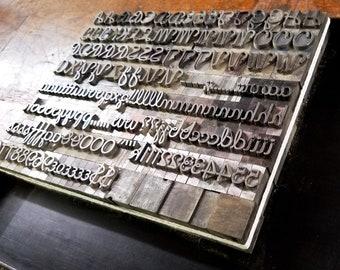 Vintage Metal Letterpress Type 60 pt Romany font
