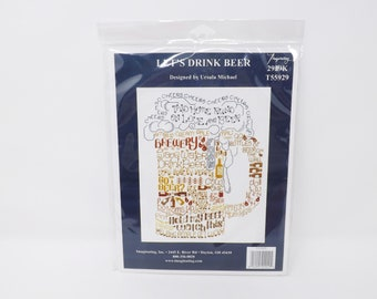 Let's Drink Beer Counted Cross Stitch Kit - Imaginating