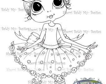 INSTANT DOWNLOAD Digital Digi Stamps Big Eye Big Head Dolls Carley Spring By Sherri Baldy