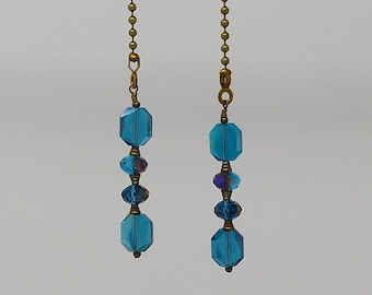 Matched Set of 2 Turquoise Hexagon Glass Beads Ceiling Fan/Light Pulls