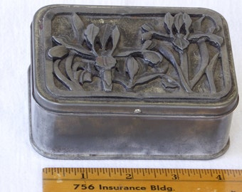 Vintage Tin Metzke Pewter Top Box