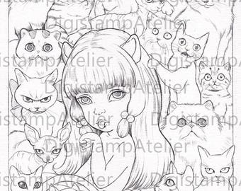 CATS. INSTANT DOWNLOAD Digital Digi Stamps.