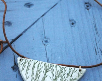 Botanical Pendant Necklace w/ Leather Cord / Ceramic Necklace w/ Hand Printed Plant Design / Adjustable Necklace / Avocado & Raw Clay