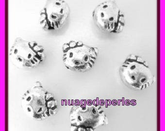 18 beads silver kitty cat