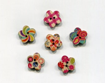 set buttons 17 mm pattern flowers, wood